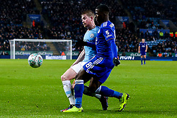 Kevin De Bruyne of Manchester City takes on Kelechi Iheanacho of Leicester City - Mandatory by-line: Robbie Stephenson/JMP - 18/12/2018 - FOOTBALL - King Power Stadium - Leicester, England - Leicester City v Manchester City - Carabao Cup Quarter Finals