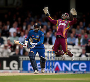 Denesh Ramdin appeals in vain for the lbw of Sanath Jayasuriya during the ICC World Twenty20 Cup semi-final between Sri Lanka and West Indies at The Oval. Photo © Graham Morris (Tel: +44(0)20 8969 4192 Email: sales@cricketpix.com)