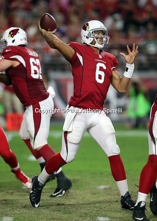 Arizona Cardinals quarterback Logan Thomas (6) throws a second quarter pass for a first down during the 2015 NFL preseason football game against the Kansas City Chiefs on Saturday, Aug. 15, 2015 in Glendale, Ariz. The Chiefs won the game 34-19. (©Paul Anthony Spinelli)
