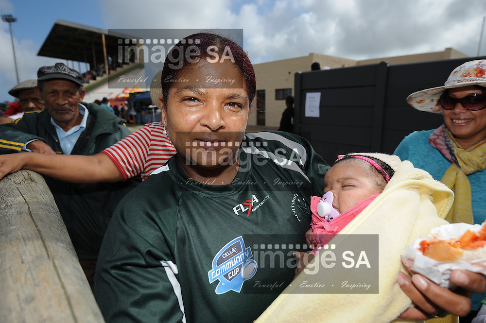 GEORGE, SOUTH AFRICA - Saturday 7 March 2015, the youngest Evergreens supporter, Gayneshia Stoffels (3 months old) during the third round match of the Cell C Community Cup between Pacaltsdorp Evergreens and Vaseline Wanderers at Pacaltsdorp Sports Grounds, George<br /> Photo by Roger Sedres/ImageSA/ SARU