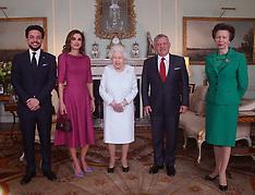 Queen Elizabeth with Crown Prince Hussein, Queen Rania and King Abdullah II of Jordan - 28 Feb 2019