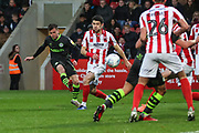 Forest Green Rovers Elliott Frear(17) shoots at goal during the EFL Sky Bet League 2 match between Cheltenham Town and Forest Green Rovers at Jonny Rocks Stadium, Cheltenham, England on 2 November 2019.