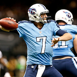 Aug 15, 2014; New Orleans, LA, USA; Tennessee Titans quarterback Zach Mettenberger (7) against the New Orleans Saints during second quarter of a preseason game at Mercedes-Benz Superdome. Mandatory Credit: Derick E. Hingle-USA TODAY Sports