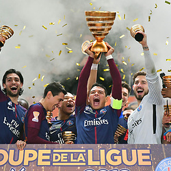Thiago Silva of PSG celebrate the victory with the trophy  during the Final of the French League Cup between Paris Saint Germain (PSG) and AS Monaco on March 31, 2018 in Bordeaux, France. (Photo by Dave Winter/Icon Sport)