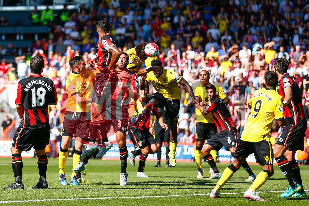 Goal, Rudy Gestede of Aston Villa scores with a blasting header , Aston Villa 1-0 AFC Bournemouth - Mandatory by-line: Jason Brown/JMP - Mobile 07966 386802 08/08/2015 - FOOTBALL - Bournemouth, Vitality Stadium - AFC Bournemouth v Aston Villa - Barclays Premier League - Season opener