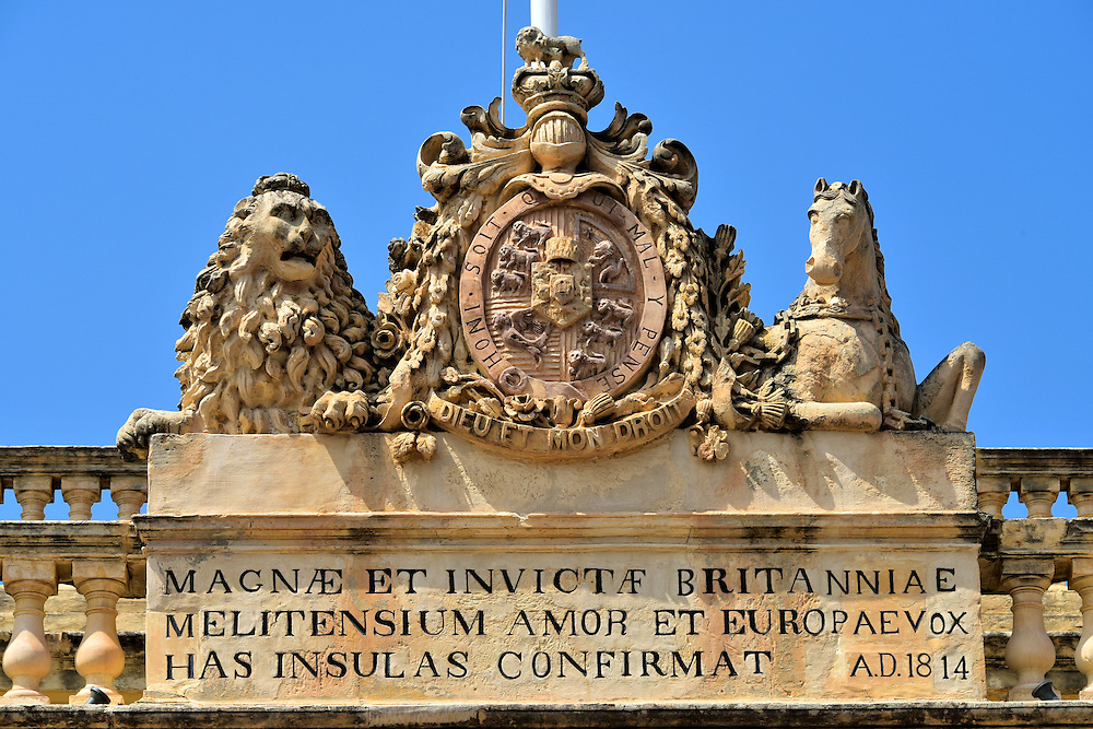 Coat of Arms on Main Guard Portico in Valletta, Malta <br />
