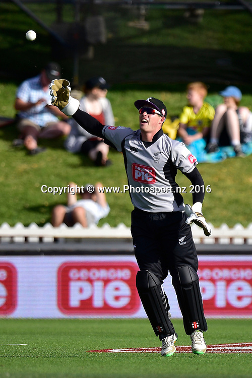 Henry Nicholls keeper for South Island celebrates catching Grant Elliott of the North Island during the North Island vs South Island cricket match at the Basin Reserve in Wellington on Sunday the 28th of February 2016. Copyright Photo by Marty Melville / www.Photosport.nz