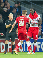Football - 2014 / 2015 Sky Bet Championship - Cardiff City vs. Leeds United<br /> <br />  Kenwyne Jones of Cardiff celebrates by removing his shirt to reveal a t shirt inscribed with ' rip dreshon & chibbi' at the Cardiff City Stadium.<br /> <br /> COLORSPORT/WINSTON BYNORTH