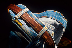 Worn pair of blue jeans sitting out