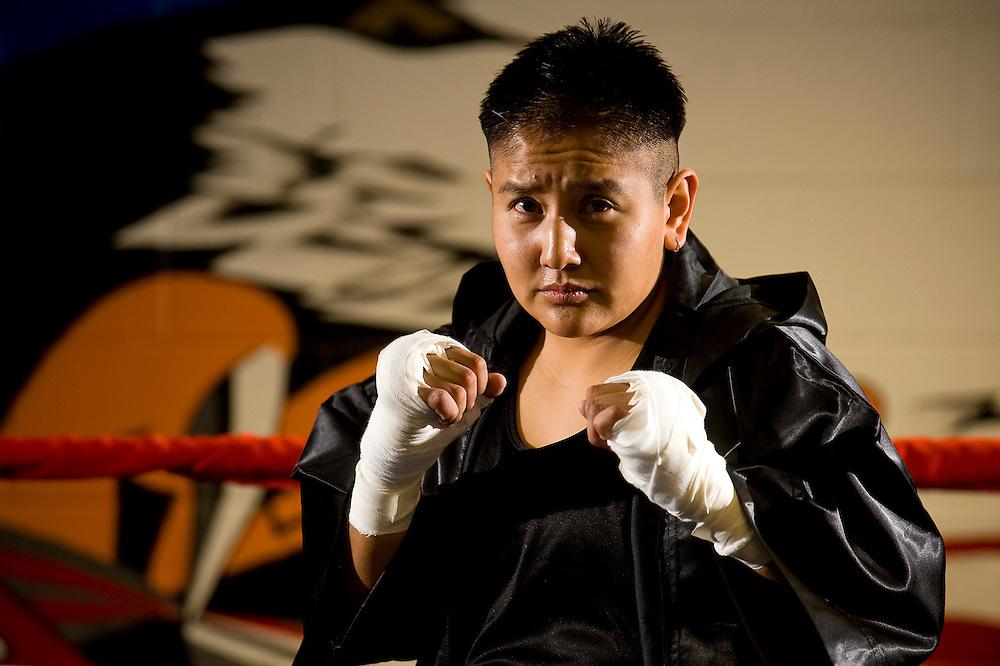 "120811       Brian Leddy.Boxer Chavira ""the Viper"" Jack recently won the Navajo Nation Lightweight Champion Belt."