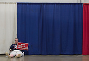 A supporter of republican presidential nominee Donald Trump waits for a Trump rally to start at Fredericksburg Expo Center August 20, 2016, in Fredericksburg, Virginia.