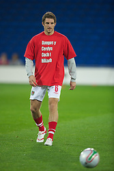CARDIFF, WALES - Friday, October 8, 2010: Wales' Sam Ricketts wears a 'Show Racism The Red Card' shirts before the UEFA Euro 2012 Qualifying Group G match against Bulgaria at the Cardiff City Stadium. (Pic by David Rawcliffe/Propaganda)