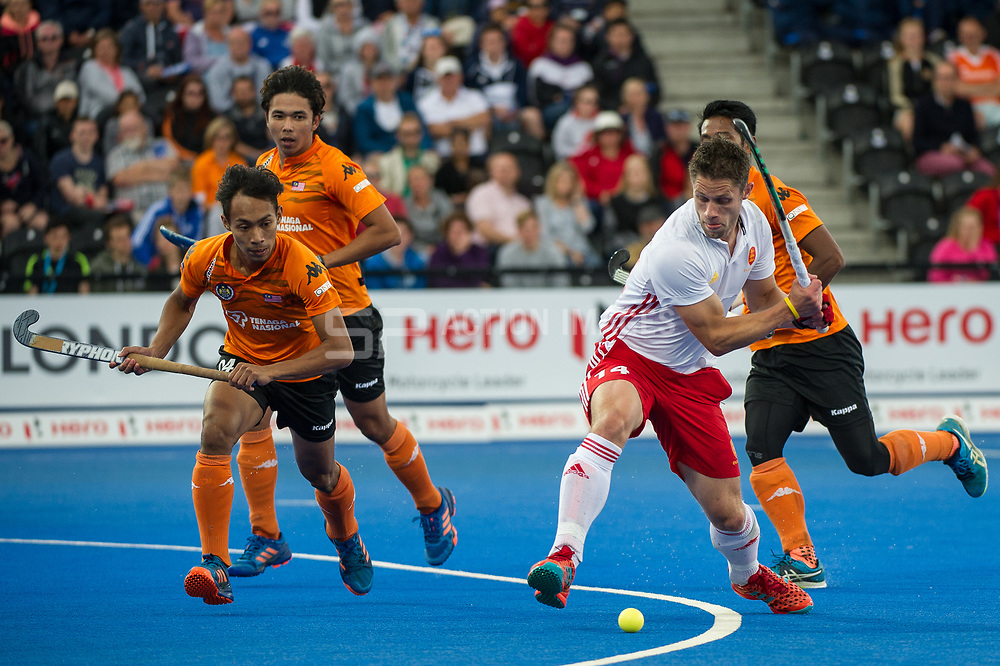Mark Gleghorne. England v Malaysia - 3rd/4th Playoff - Hockey World League Semi Final, Lee Valley Hockey and Tennis Centre, London, United Kingdom on 25 June 2017. Photo: Simon Parker