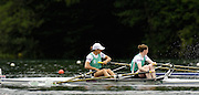 2006 FISA World Cup, Lucerne, SWITZERLAND, 07.07.2006. Lightweight Women's Double Sculls heat,  IRL LW2X ,  Bow [left] Sinead JENNINGS and Niamh NI CHEILLEACHAIR, Jenning's catchs a crab in the opening strokes of race.   Photo  Peter Spurrier/Intersport Images email images@intersport-images.com.[Friday Morning]...[Mandatory Credit Peter Spurrier/Intersport Images... Rowing Course, Lake Rottsee, Lucerne, SWITZERLAND.