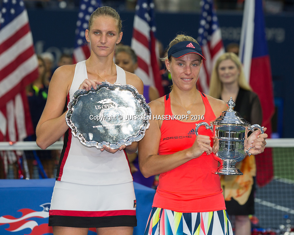 Siegerin ANGELIQUE KERBER (GER) und Finalistin KAROLINA PLISKOVA (CZE), Siegerehrung, Praesentation<br /> <br /> Tennis - US Open 2016 - Grand Slam ITF / ATP / WTA -  USTA Billie Jean King National Tennis Center - New York - New York - USA  - 10 September 2016.