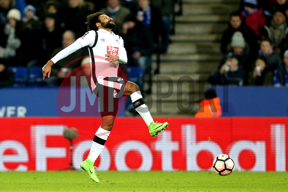 Ikechi Anya of Derby County looks frustrated during the defeat to Leicester City - Mandatory by-line: Robbie Stephenson/JMP - 08/02/2017 - FOOTBALL - King Power Stadium - Leicester, England - Leicester City v Derby County - Emirates FA Cup fourth round replay
