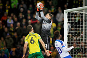 Norwich City goalkeeper Michael McGovern (33) claims this cross watched by Norwich City defender Christoph Zimmermann (6) during the The FA Cup 3rd round match between Norwich City and Portsmouth at Carrow Road, Norwich, England on 5 January 2019.