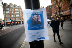 © Licensed to London News Pictures. 17/12/2018. London, UK.  A poster on display explaining that facial recognition trials are taking place in the area. Members of the Metropolitan police trial facial recognition technology on members of the public in central London. The surveillance software is being used overtly with a uniformed presence. Privacy campaigners have expressed concerns about the use of the technology. Photo credit: Ben Cawthra/LNP