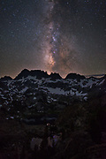 Night shot of Milky Way over Ediza Lake and the Minarets  in the Ansel Adams Wilderness. High Sierra backpacking trip to Garnet Lake and Nydiver Lake in the Ansel Adams Wilderness out of Devil's Postpile national monument 2017.
