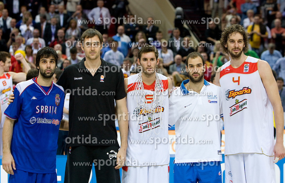Milos Teodosic of Serbia, Erazem Lorbek (15) of Slovenia, Rudy Fernandez of Spain, Vasileios Spanoulis of Greece and Pau Gasol of Spain in best 5 of  the EuroBasket 2009. Spain won at the Final match between Spain and Serbia, on September 20, 2009, in Arena Spodek, Katowice, Poland.  Spain won, Serbia placed second, Greece third and Slovenia fourth.  (Photo by Vid Ponikvar / Sportida)