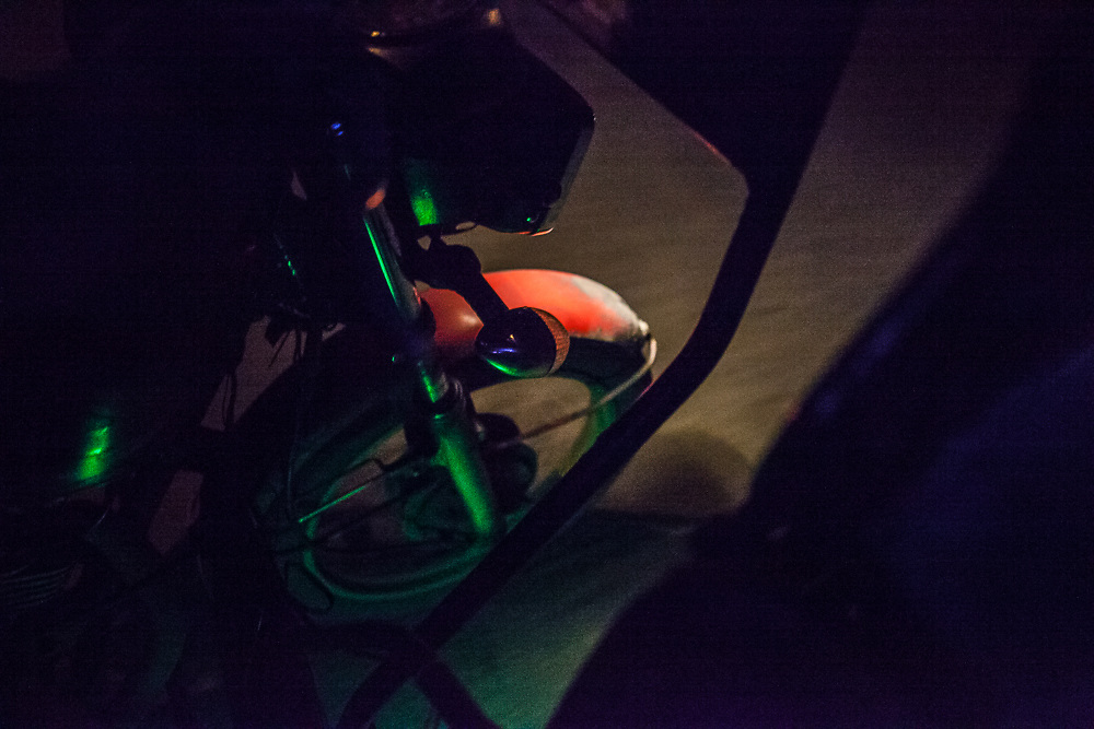 A tricycle ride in the night.