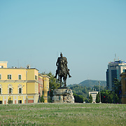 The crown of Skanderberg statue overlooking the main square of Tirana with its name.