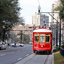 Jan 21, 2013; New Orleans, LA, USA;  A general view as a street car on the new Loyola Avenue street car line in downtown New Orleans Super Bowl XLVII will be played between the San Francisco 49ers and the Baltimore Ravens on February 3, 2013 at the Mercedes-Benz Superdome.  Mandatory Credit: Derick E. Hingle-USA TODAY Sports