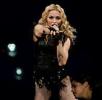 Boston, MA - October 15, 2008:  Madonna performs at the TD Garden on October 15, 2008. Photo by Matthew Healey