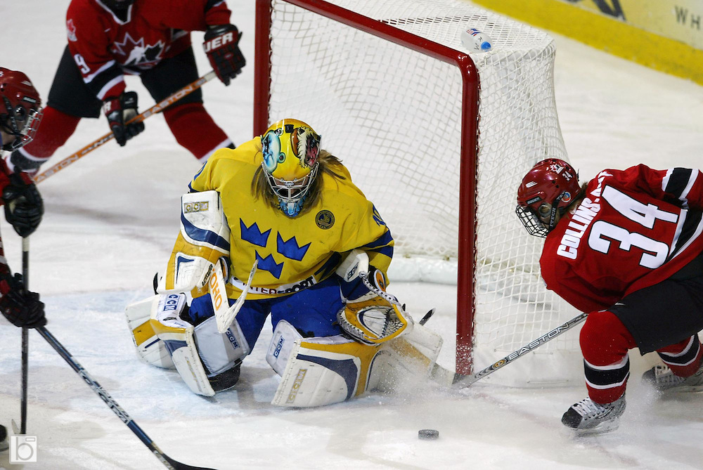 10 November 2004:  Canadian Women's National Team Sweden National Team during the first second third period Canada's 3-2 win of the opening game at the Four Nations Cup Women's Hockey tournament in Lake Placid, NY.<br />