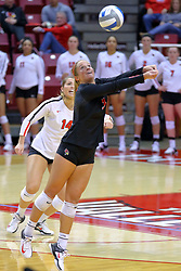 23 November 2017:  Courtney Pence reaches for a high save in front of Lexi Wallen during a college women's volleyball match between the Valparaiso Crusaders and the Illinois State Redbirds in the Missouri Valley Conference Tournament at Redbird Arena in Normal IL (Photo by Alan Look)