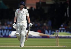 England's Dom Bess walks off after getting out during day four of the First NatWest Test Series match at Lord's, London.