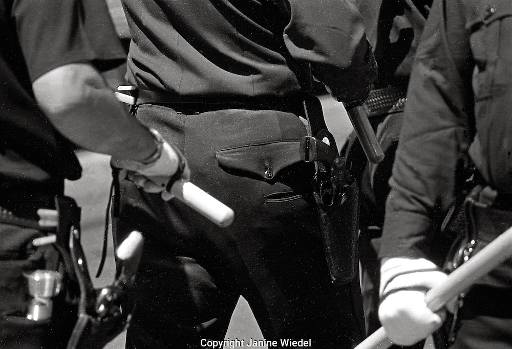 Police with clubs at Peoples Park  Student protest & riots in Berkeley California 1969