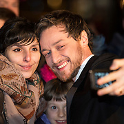 Nominee actor James McAvoy has a selfie with fans outside the Radisson Hotel, Glasgow.
