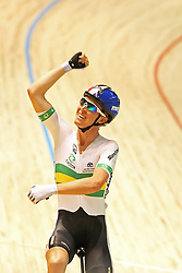 (Melbourne, Australia---07 April 2012) Cameron Meyer of Australia celebrates gold in the Men's Points Race at the 2012 UCI Track Cycling World Championships.Copyright 2012 Sean Burges / Mundo Sport Images.