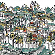 Constantinople from the nuremberg Chronicle. The Nuremberg Chronicle is an illustrated Biblical paraphrase and world history that follows the story of human history related in the Bible; it includes the histories of a number of important Western cities. Written in Latin by Hartmann Schedel, with a version in German translation by Georg Alt, it appeared in 1493.