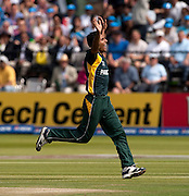Bowler Abdul Razzaq celebrates the wicket of Mahela Jayawardene during the ICC World Twenty20 Cup Final between Sri Lanka and Pakistan at Lord's. Photo © Graham Morris (Tel: +44(0)20 8969 4192 Email: sales@cricketpix.com)