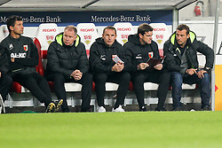 23.11.2014, Mercedes Benz Arena, Stuttgart, GER, 1. FBL, VfB Stuttgart vs FC Augsburg, 12. Runde, im Bild l-r: Tortwarttrainer Zdenko Miletic (FC Augsburg), Manager Stefan Reuter (FC Augsburg), Co-Trainer Tobias Zellner (FC Augsburg), Co-Trainer Wolfgang Beller (FC Augsburg) und Chef-Trainer Markus Weinzierl (FC Augsburg) // during the German Bundesliga 12th round match between VfB Stuttgart and FC Augsburg at the Mercedes Benz Arena in Stuttgart, Germany on 2014/11/23. EXPA Pictures © 2014, PhotoCredit: EXPA/ Eibner-Pressefoto/ Kolbert<br /> <br /> *****ATTENTION - OUT of GER*****