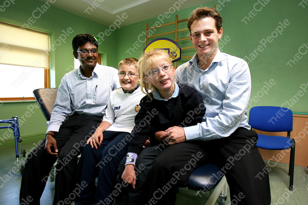 Sri Mohanavelu ,Occupational Therapist and Erwan Gayet,Osteopath with Evan Whelan and Nicole Norton-Reidy at St Clairs School,Gort Road ,Ennis.<br /><br />Photograph by Eamon Ward