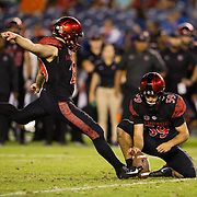 22 September 2018: San Diego State Aztecs place kicker John Baron II (29) attempts a field goal in the third quarter in a tie game. The San Diego State Aztecs beat the Eastern Michigan Eagles 23-20 in over time at SDCCU Stadium in San Diego, California.