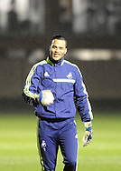 Swansea goalkeeper Michel Vorm arrives at Swansea city FC team training in Landore, Swansea, South Wales on Wed 19th Feb 2014. the team are training ahead of tomorrow's UEFA Europa league match against Napoli.<br /> pic by Phil Rees, Andrew Orchard sports photography.
