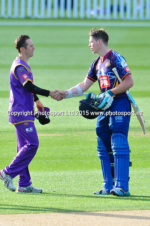 Todd Astle of the Canterbury Kings and Michael Bracewell of Otago shake hands after the match during the Georgie Pie Super Smash Twenty20 cricket game, Canterbury V Otago, at Hagley Oval, Christchurch. 12th November 2015. Copyright Photo: John Davidson/www.photosport.nz