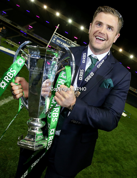 RBS 6 Nations Championship, BT Murrayfield, Edinburgh, Scotland 21/3/2015<br /> Scotland vs Ireland<br /> Ireland's Jamie Heaslip celebrates with the trophy<br /> Mandatory Credit &copy;INPHO/Dan Sheridan