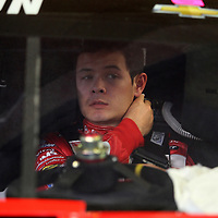 Driver Kyle Larson is seen in his car during the  56th Annual NASCAR Daytona 500 practice session at Daytona International Speedway on Wednesday, February 19, 2014 in Daytona Beach, Florida.  (AP Photo/Alex Menendez)
