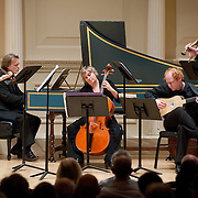 November 15, 2011 - Manhattan, NY : The Theatre of Early Music including, from left, Cynthia Roberts (violin), Eric Milnes (harpsichord), Amanda Keesmaat (cello), David Jacques (lute), and Edwin Huizing (violin) perform works by George Frideric Handel in the Joan and Sanford I. Weill Recital Hall at Carnegie Hall on Tuesday night. CREDIT: Karsten Moran for The New York Times