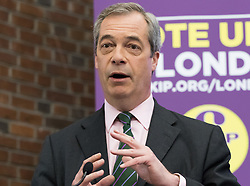 Emmanuel Centre, Westminster, London, April 19th 2016. UKIP leader Nigel Farage addresses the press and local election candidates as UKIP launches their London Mayoral campaign manifesto.