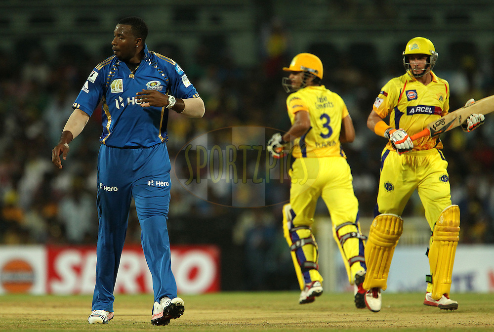 Kieron Pollard, Suresh Raina and Michael Hussey during match 3 of the NOKIA Champions League T20 ( CLT20 )between the Chennai Superkings and the Mumbai Indians held at the M. A. Chidambaram Stadium in Chennai , Tamil Nadu, India on the 24th September 2011..Photo by Ron Gaunt/BCCI/SPORTZPICS