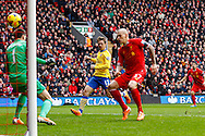 Martin Skrte of Liverpool scores the opening goal during the Barclays Premier League match at Anfield, Liverpool<br /> Picture by David Horn/Focus Images Ltd +44 7545 970036<br /> 08/02/2014