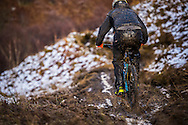 Did we say it was muddy? Riders don't have chance to keep clean as snow turns to mud on stage one of the Kinlochleven Enduro. (Rider: Ian Mcallister)