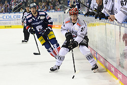01.03.2019, O2 World, Berlin, GER, DEL, Eisbaeren Berlin vs Koelner Haie, 52. Runde, im Bild v.l. Colin Smith - Eisbaeren, Pascal Zerressen #27 - Haie // during the DEL 52th round match between Eisbaeren Berlin and Koelner Haie at the O2 World in Berlin, Germany on 2019/03/01. EXPA Pictures © 2019, PhotoCredit: EXPA/ Eibner-Pressefoto/ Uwe Koch<br /> <br /> *****ATTENTION - OUT of GER*****