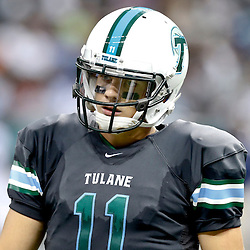 Aug 29, 2013; New Orleans, LA, USA; Tulane Green Wave quarterback Nick Montana (11) against the Jackson State Tigers at the Mercedes-Benz Superdome. Mandatory Credit: Derick E. Hingle-USA TODAY Sports